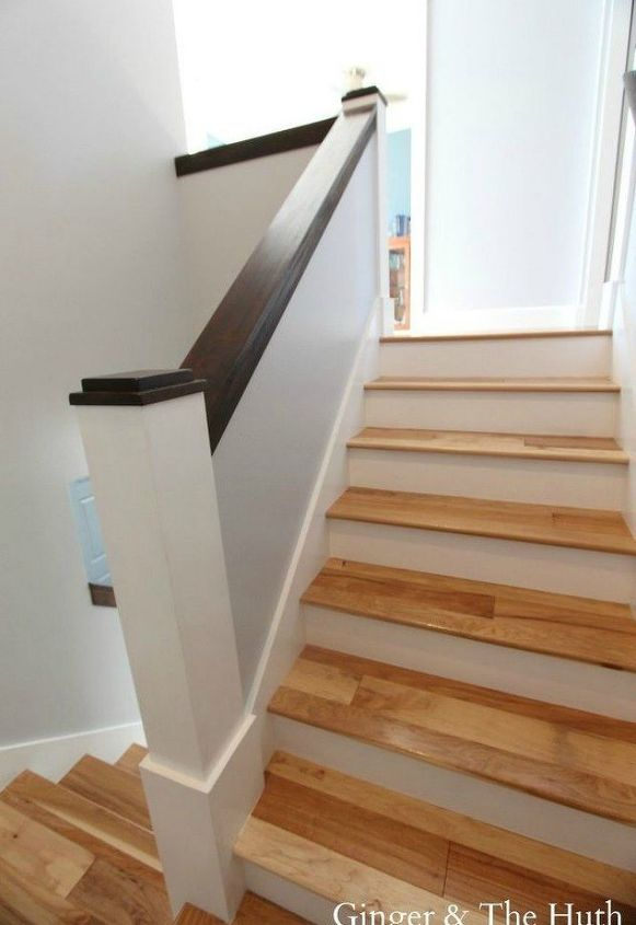 s get rid of your carpet staircase without hiring a contractor, stairs, reupholster, Widen the stairs with new skirts and treads