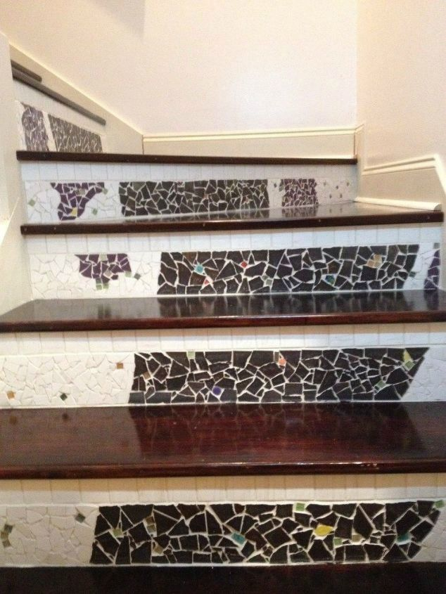 s get rid of your carpet staircase without hiring a contractor, stairs, reupholster, Revamp your stairs with a mosaic pattern