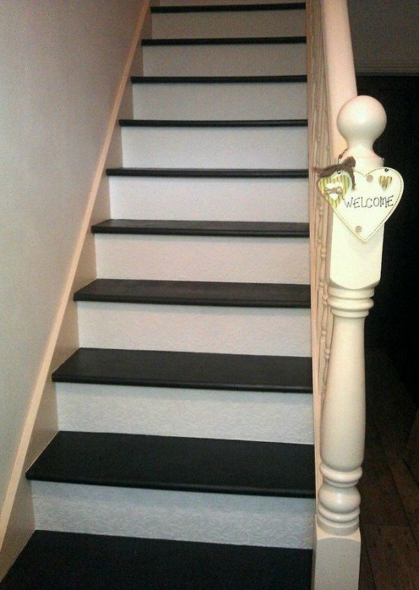 s get rid of your carpet staircase without hiring a contractor, stairs, reupholster, Paint the wood with chalk paint