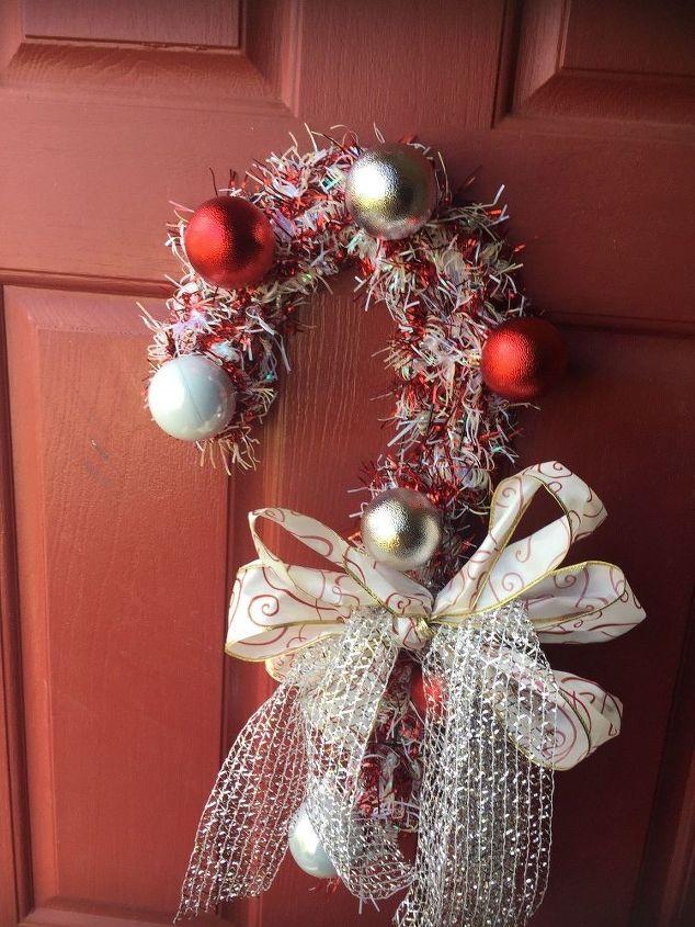 candy cane wreath , crafts, wreaths