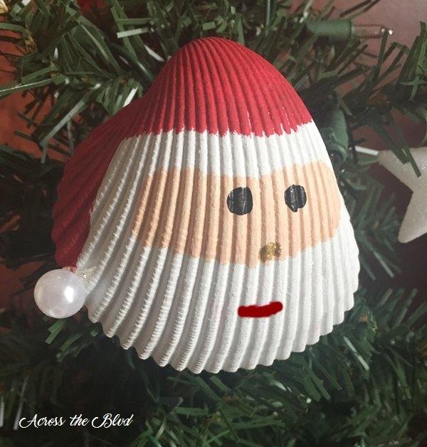 santa shell ornament, christmas decorations, seasonal holiday decor