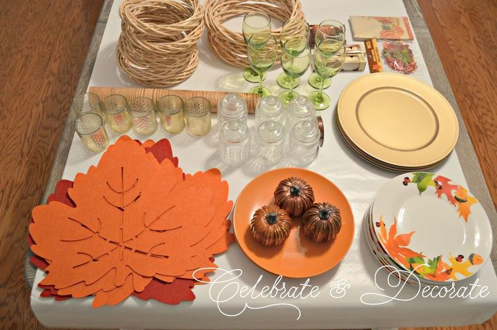 set a thanksgiving table from the dollar store, painted furniture