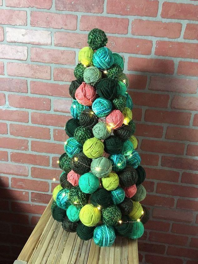 yarn ball ornament tree, christmas decorations, seasonal holiday decor