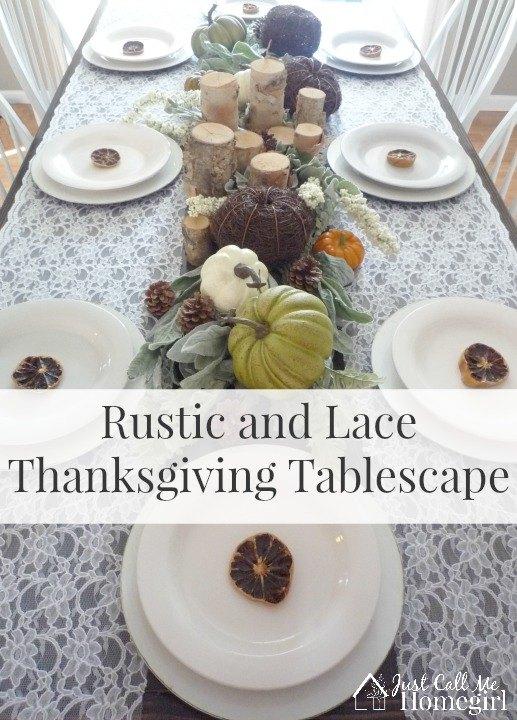 mesa rustica y de encaje para el dia de accion de gracias