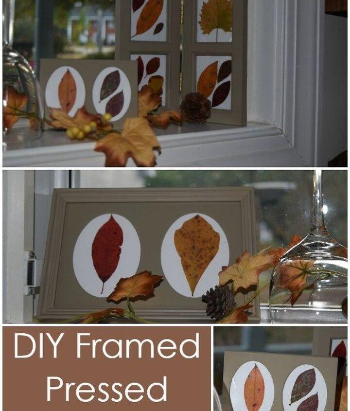 diy framed pressed fall leaves