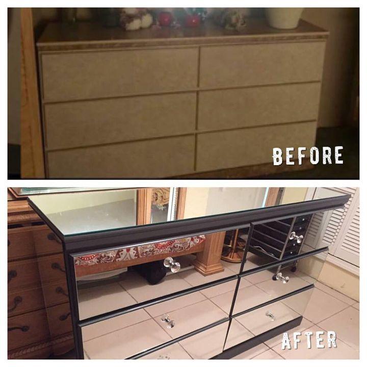 diy mirrored dresser , painted furniture