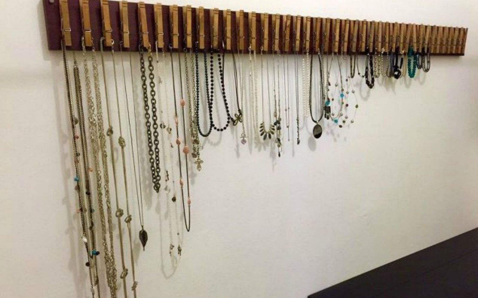 s 21 jewelry organizing ideas that are better than a jewelry box, organizing, This incredible line of clothespins