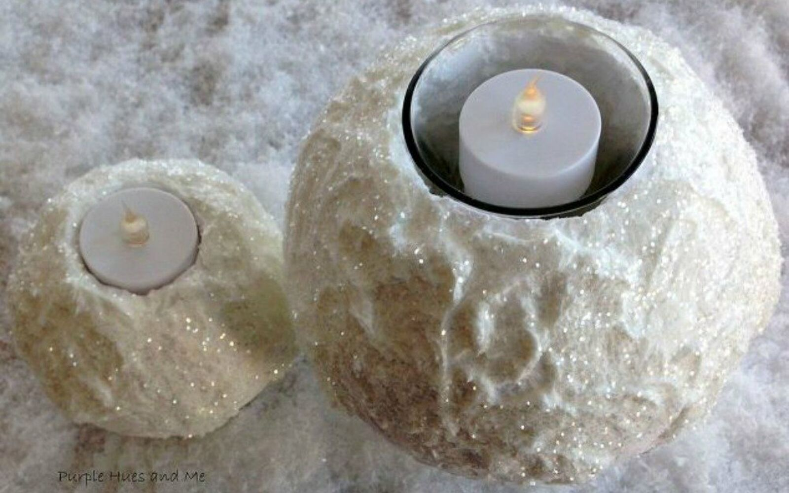 s cut up styrofoam for these breathtaking christmas ideas, christmas decorations, Turn them into winter snowy candle holders