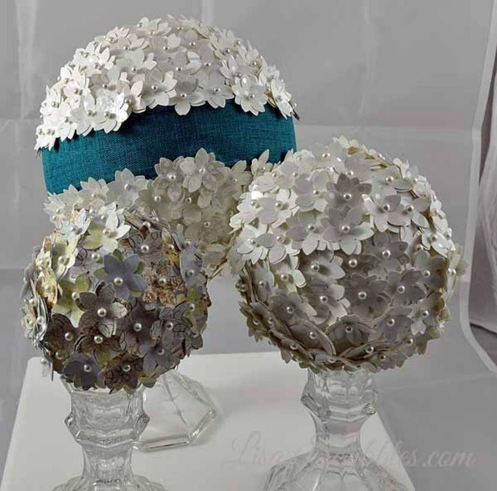 s cut up styrofoam for these breathtaking christmas ideas, christmas decorations, Pin them with pearls and flowers