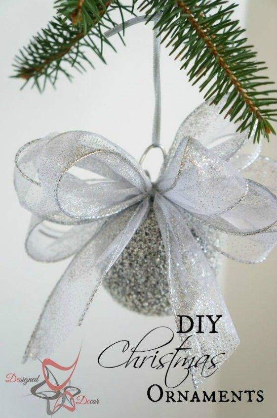 s cut up styrofoam for these breathtaking christmas ideas, christmas decorations, Spray them into sparkly tree ornaments