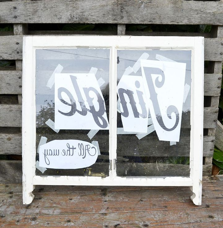 old window turned into a christmas decoration mirror, home decor