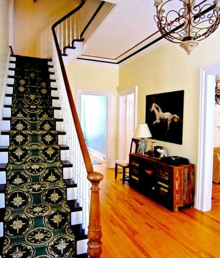 s transform dollar store rugs with these 11 stunning ideas, reupholster, Piece together inexpensive stairway runners