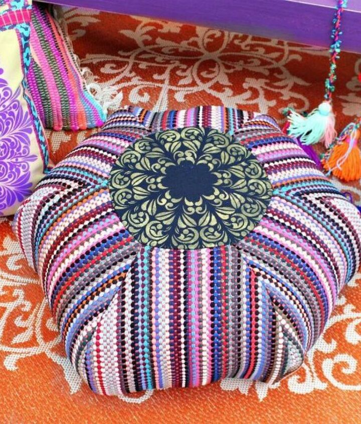 s transform dollar store rugs with these 11 stunning ideas, reupholster, Or sew them together to create a stylish pouf