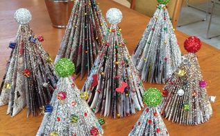 Old Magazines turned into Christmas Trees using simple ...