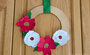 make beautiful 3d christmas flower wreaths using card stock paper, crafts, gardening, wreaths
