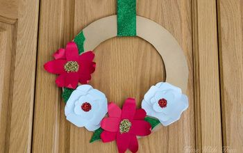 make beautiful 3d christmas flower wreaths using card stock paper, crafts, gardening, wreaths