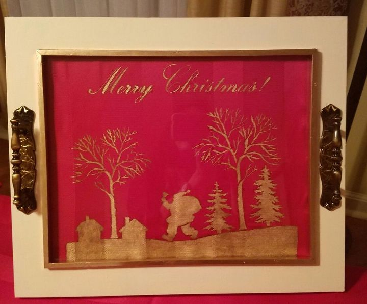 Holiday Tray Made With A Frame Stencil and Gold Leaf Paint