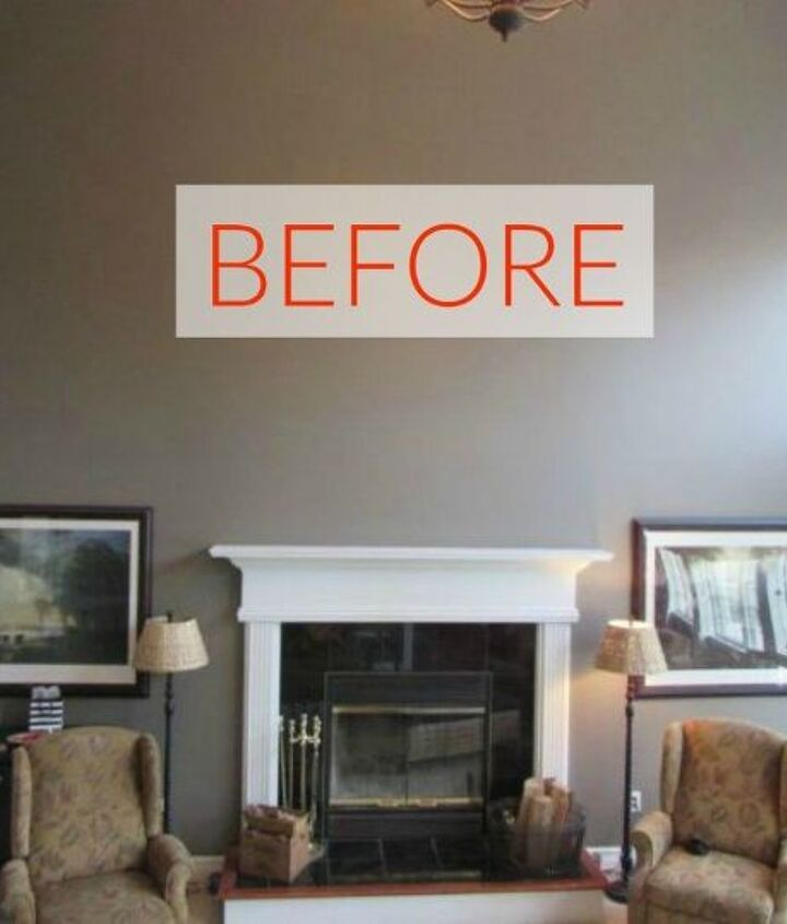 s 10 jaw dropping fireplace makeovers we can t stop looking at, fireplaces mantels, Before A tall and bare wall
