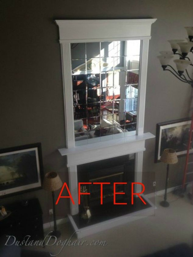 s 10 jaw dropping fireplace makeovers we can t stop looking at, fireplaces mantels, After A stunning beveled mirror