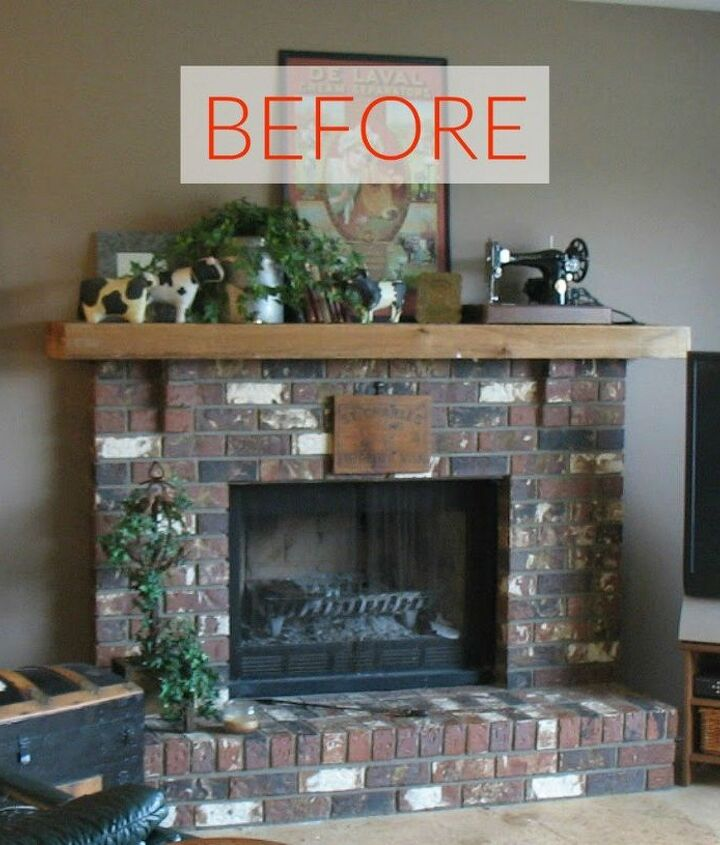 s 10 jaw dropping fireplace makeovers we can t stop looking at, fireplaces mantels, Before A typical brick fireplace