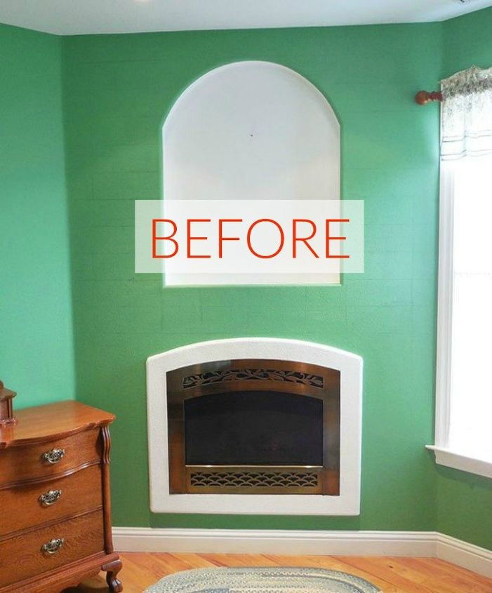 s 10 jaw dropping fireplace makeovers we can t stop looking at, fireplaces mantels, Before A dull and green area