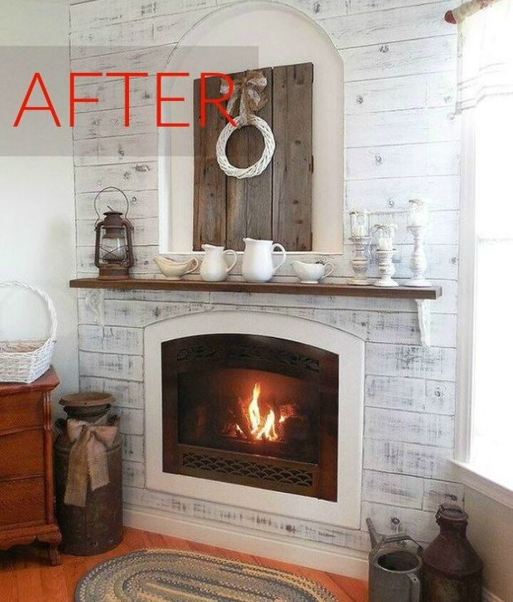 s 10 jaw dropping fireplace makeovers we can t stop looking at, fireplaces mantels, After A farmhouse look and cozy area