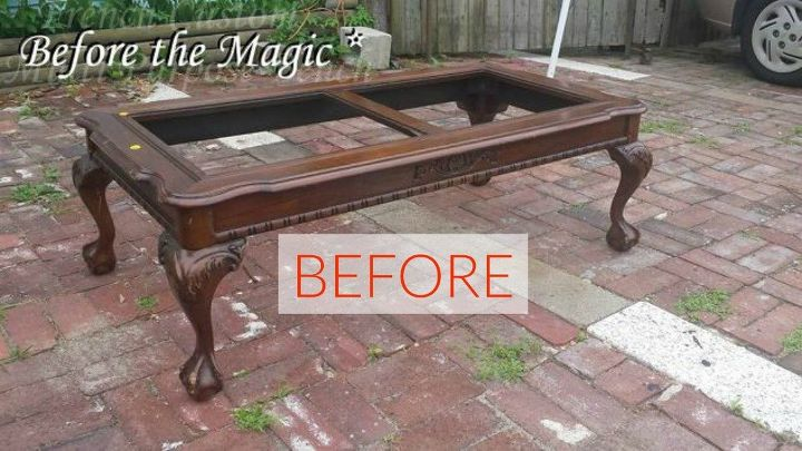 s 10 surprising ways to turn old furniture into extra seating, painted furniture, Before A used french coffee table