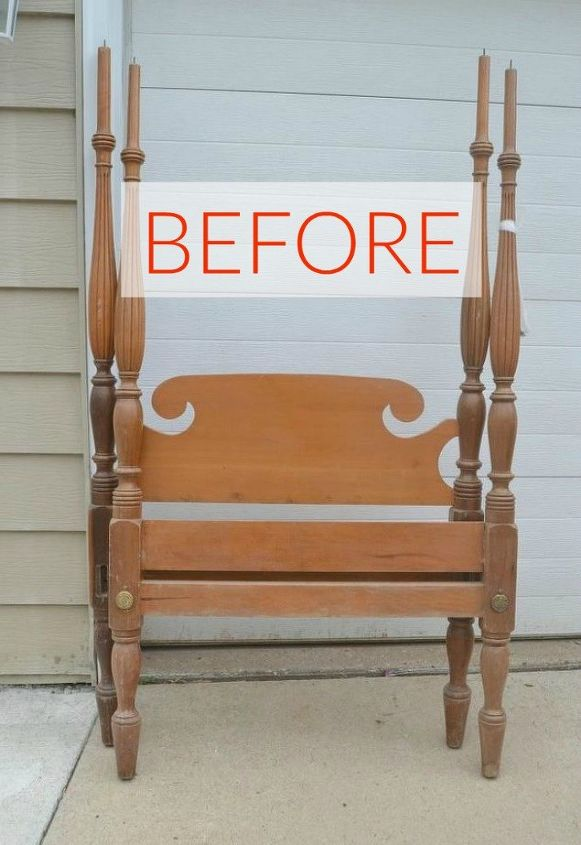 s 10 surprising ways to turn old furniture into extra seating, painted furniture, Before And old bed frame