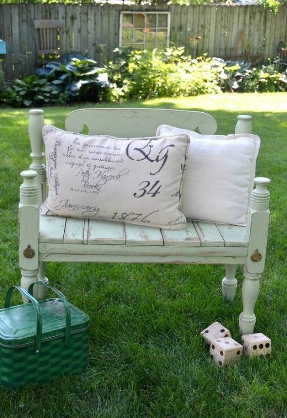 s 10 surprising ways to turn old furniture into extra seating, painted furniture, After A cute vintage garden seat