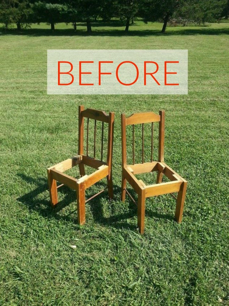 Before Two Broken Wooden Chairs