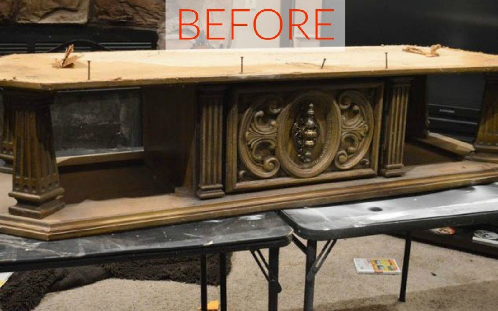 s 10 surprising ways to turn old furniture into extra seating, painted furniture, Before A huge 70s coffee table