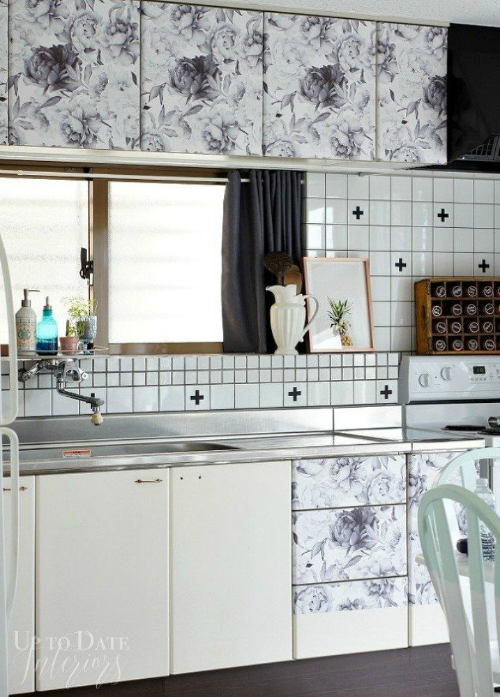 Interior Contact Paper For Kitchen Cabinets transform your kitchen cabinets without paint 11 ideas hometalk cover them with pretty contact paper