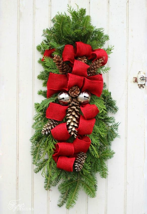 s tired of christmas wreaths try these ideas instead, crafts, wreaths, Use a clothes hanger for awesome swag
