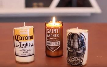 diy beer bottle glass cutting candles at home, home decor
