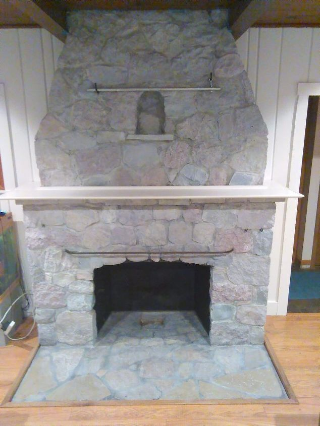 ugly stone fireplace makeover, concrete masonry, fireplaces mantels