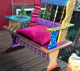 Charming Painted Bench Ideas Part - 6: Funky Hand Painted Bench, Outdoor Furniture, Repurposing Upcycling