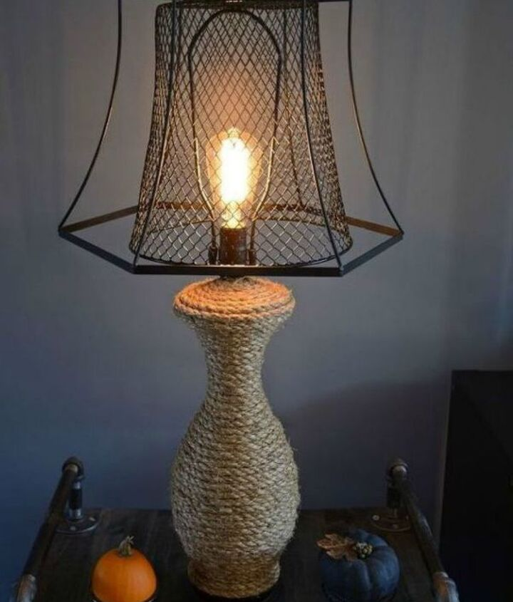s 14 blah to beautiful lamp ideas to transform your entire living room, lighting, Revamp it by wrapping it in manila rope