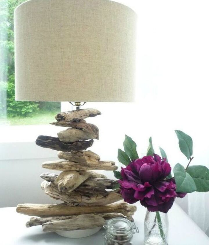 s 14 blah to beautiful lamp ideas to transform your entire living room, lighting, Stack it with mismatched driftwood