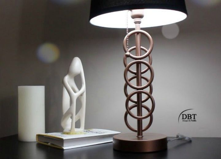 s 14 blah to beautiful lamp ideas to transform your entire living room, lighting, Dress up a simple base with bottle rings