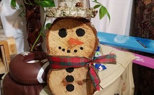 snowman made of wood