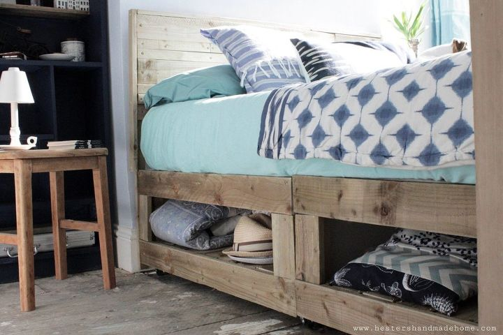 rustic bed hack with storage, storage ideas