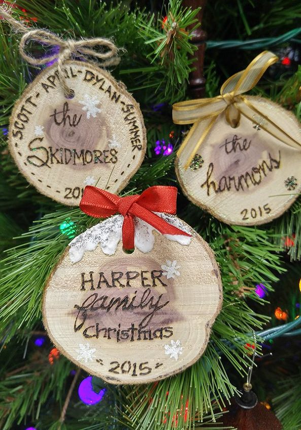 quick easy personalized wood slice ornaments christmas decorations seasonal holiday decor create unique - Joann Fabrics Christmas Decorations