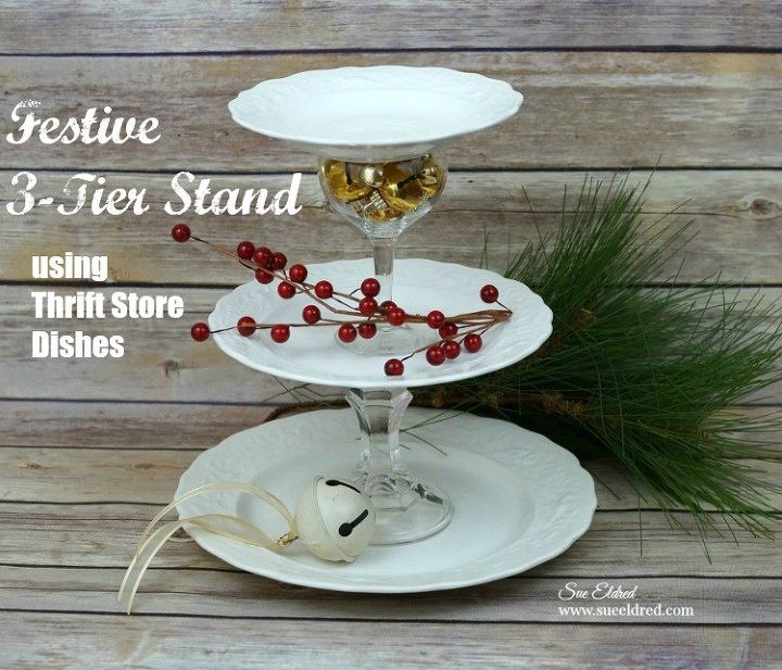 festive 3 tier stand using thrift store dishes