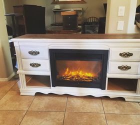 Dresser Turned Media Console Fireplace