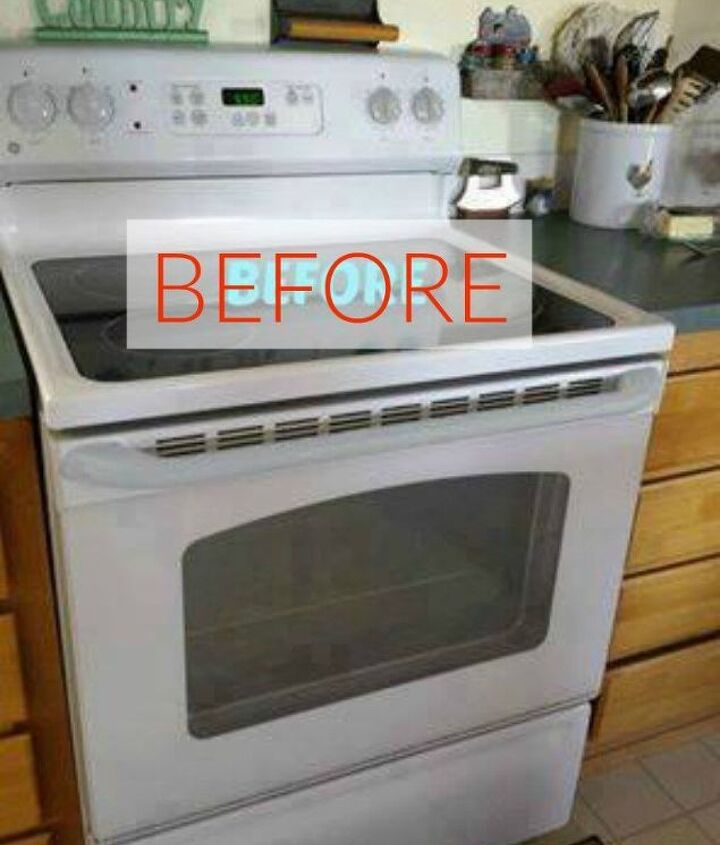 s don t buy new appliances these 9 diy hacks are brilliant, appliances, Before A plain white oven and stove