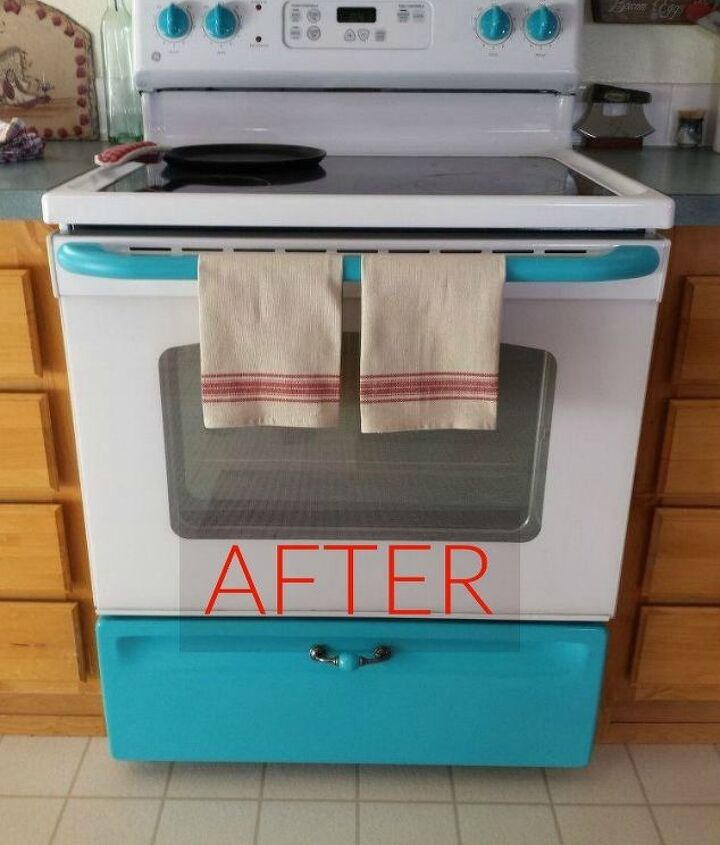 s don t buy new appliances these 9 diy hacks are brilliant, appliances, After A perfect turquoise farmhouse oven