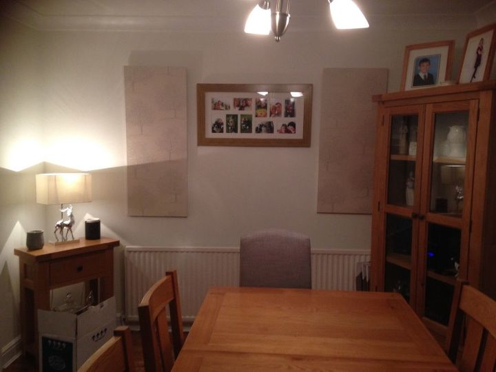 q dining room help , dining room ideas, Boards made from mDF and wallpaper