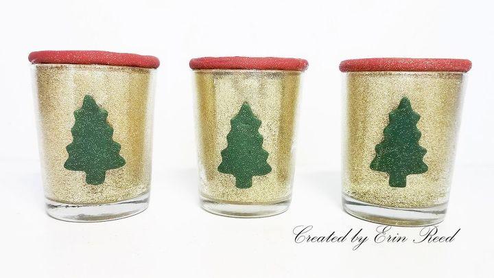 glittery christmas candle votives