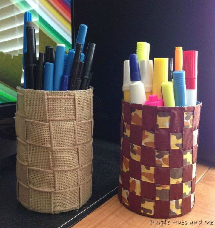 s 13 desk ideas that will make you smile at work, painted furniture, This woven ribbon pencil holder