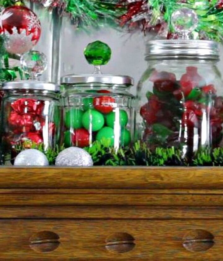 s 13 desk ideas that will make you smile at work, painted furniture, These adorable crystal knob candy jars